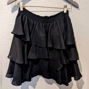 BB Dakota black silk tiered ruffled mini skirt